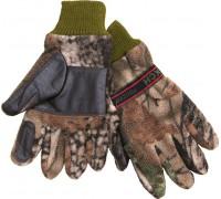 Перчатки охотника флис-кожа (лес)