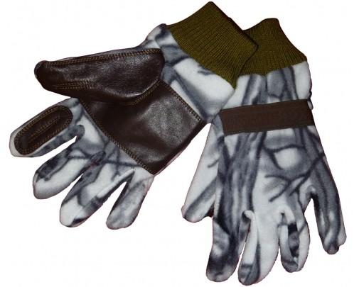 - Перчатки охотника флис-кожа (белый лес) - 734-4 - Stalker PRO