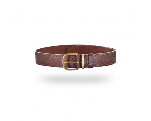 - Ремень поясной брючный коричневый 35 мм (кожа/велюр) - 361 - Stalker PRO